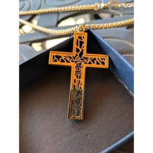 """Mens """"Lux"""" REAL 18K Gold Plated Cross Necklace"""